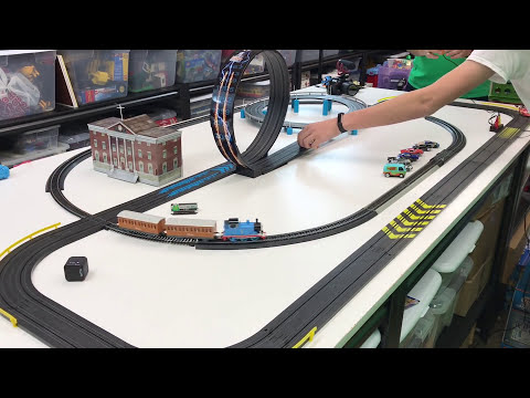 Lightning McQueen and Bellsouth Racing vs Thomas - Slot Cars and Bachmann Trains