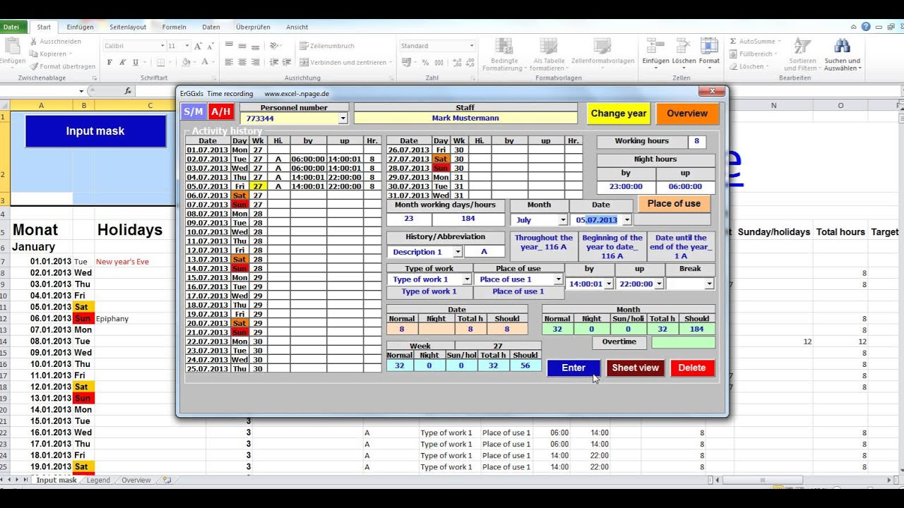 Track time. Calculate time. Time tracking application. Excel VBA ...