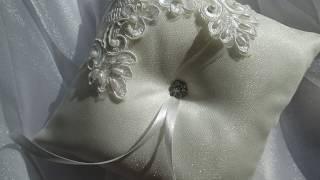Подушечка для колец своими руками. Pillow for rings handmade. Wedding cushion. Интересные идеи