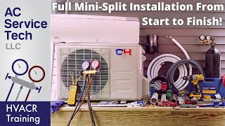 Full Installation of Mini Split Ductless Unit, Step by Step!