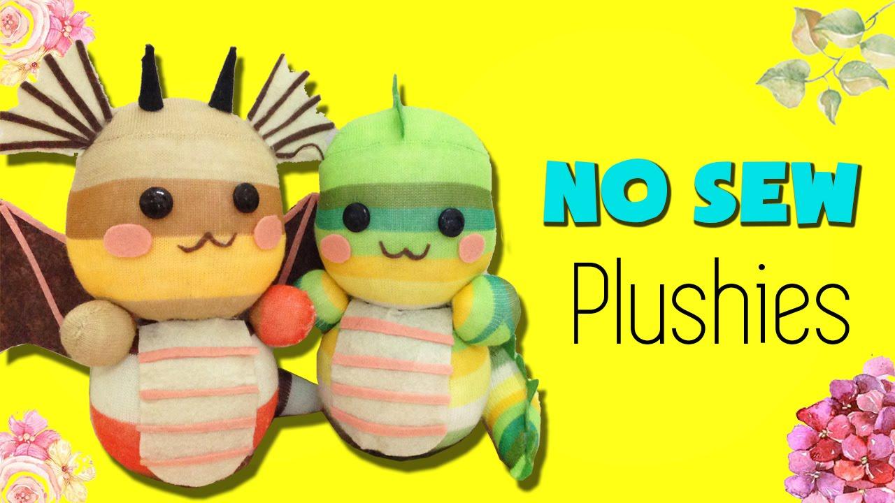 DIY Sock Plushie Doll | How to make Dragon Sock Plush [NO SEW] - YouTube
