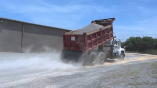 Mack Dump Truck Spreading Gravel 1