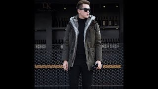 Wolf fur for men Thick jackets