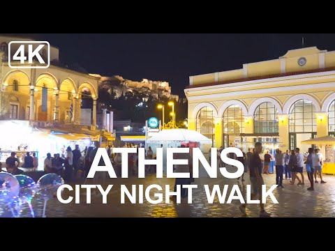 [4K] Athens Greece - Xmas Night Walk Monastiraki Square To Syntagma Square