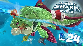 STRONGEST DUNKLEOSTEUS MAXED!! | BREAKS HIGH SCORE!! - Hungry Shark World | Ep 24 HD