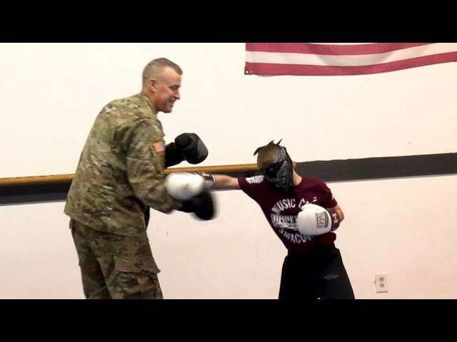 Army dad surprises blindfolded son at martial arts class in heartwarming video