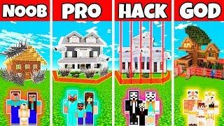 Minecraft: FAMILY SAFEST HOUSE BUILD CHALLENGE - NOOB vs PRO vs HACKER vs GOD in Minecraft