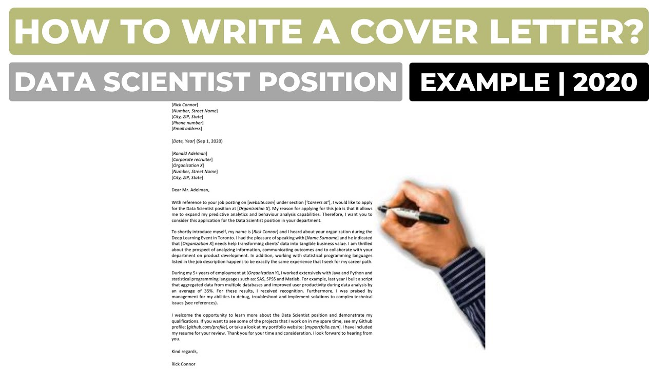 How To Write A Cover Letter For A Data Scientist Position Example Youtube