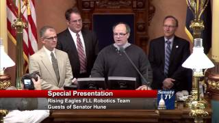 Sen. Hune welcomes Hartland Rising Eagles Robotics Team to Michigan Senate