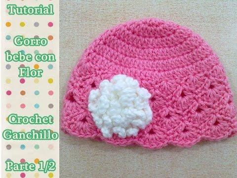 40174f8add18f Como hacer gorro bebe con flor crochet ganchillo (1 2) - YouTube