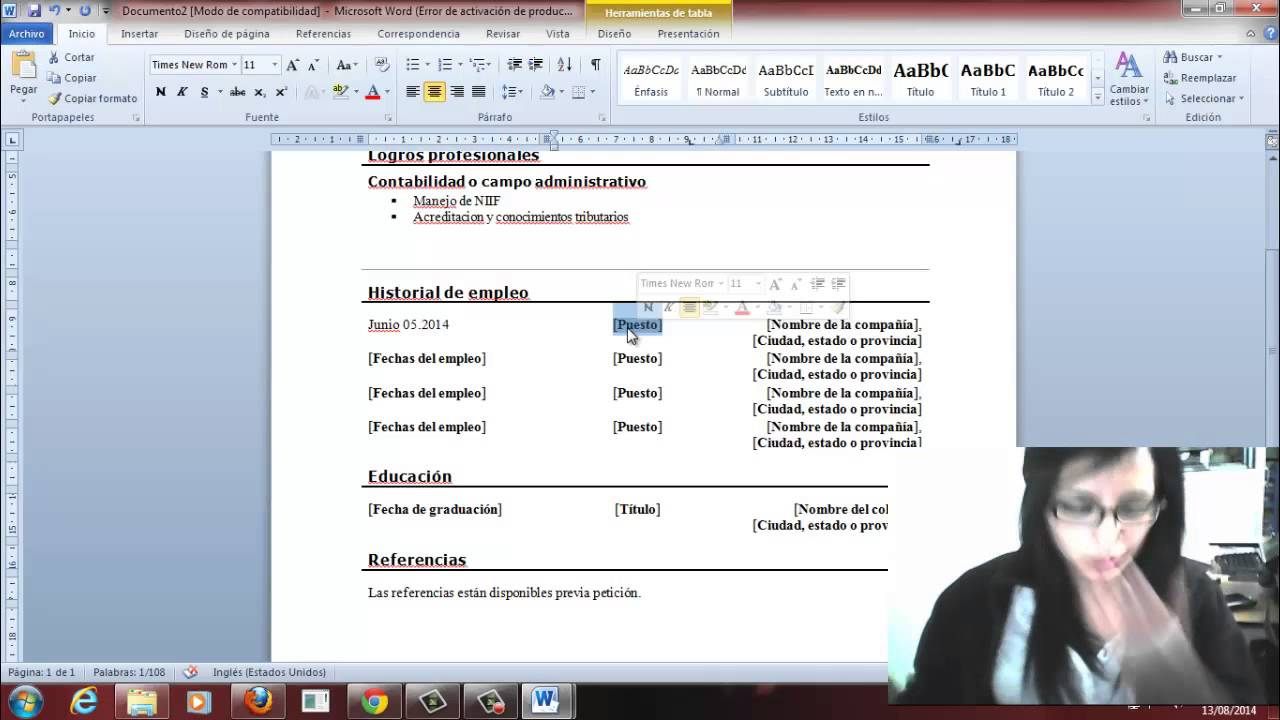 Plantilla Word - Curriculum Vitae - YouTube