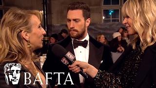sam aaron taylor johnson red carpet interview bafta film awards 2017