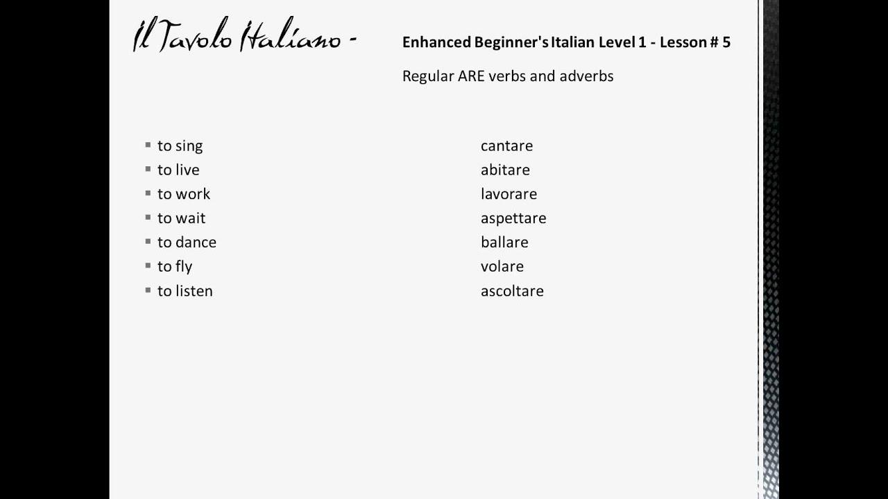 Enhanced Beginner 1 Italian Course Class 5
