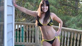 Farn Girl playing in her Marvel comics Batman Bikini