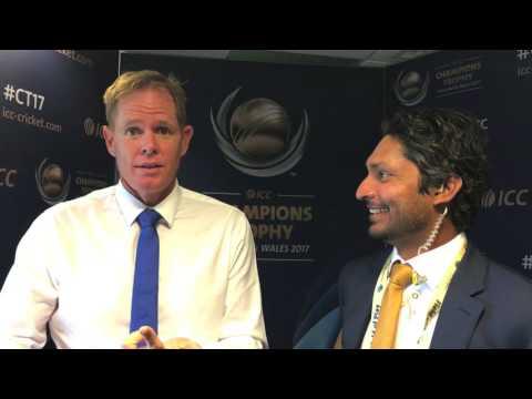 Shaun Pollock gets one back over Kumar Sangakkara