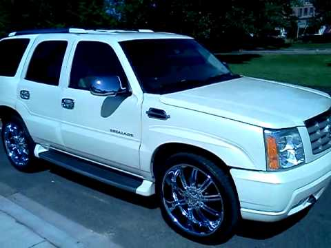 02 Cadillac Escalade White Diamond Pearl Sitting On 24