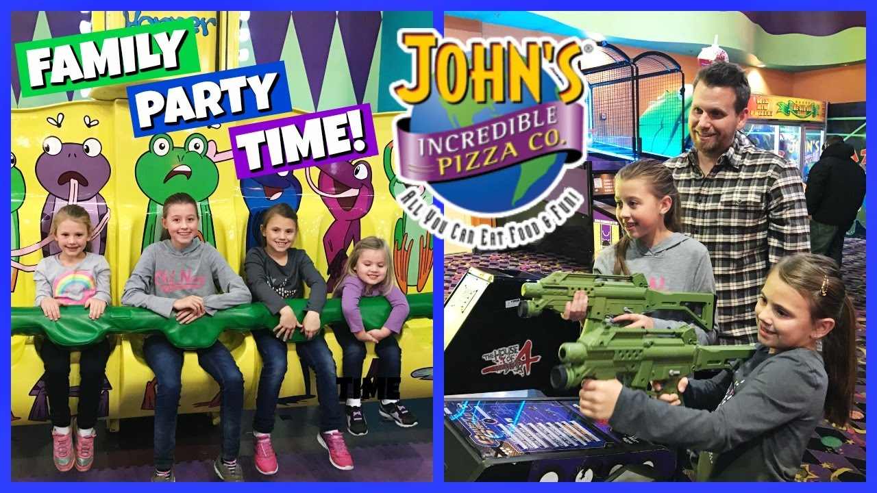FAMILY FUN PLAYING AT JOHN'S INCREDIBLE PIZZA! | PARTY TIME! - YouTube