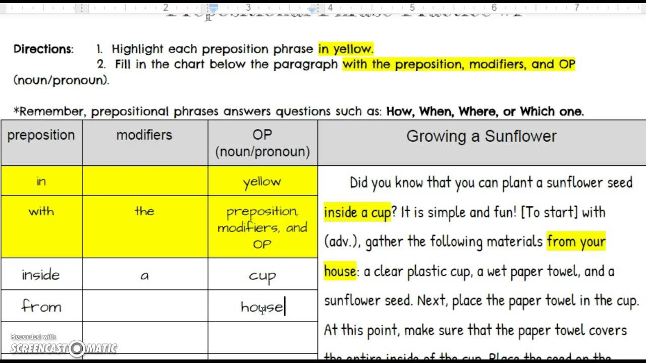 Preposition Phrase Practice 1 answers YouTube – Prepositional Phrase Worksheet with Answers