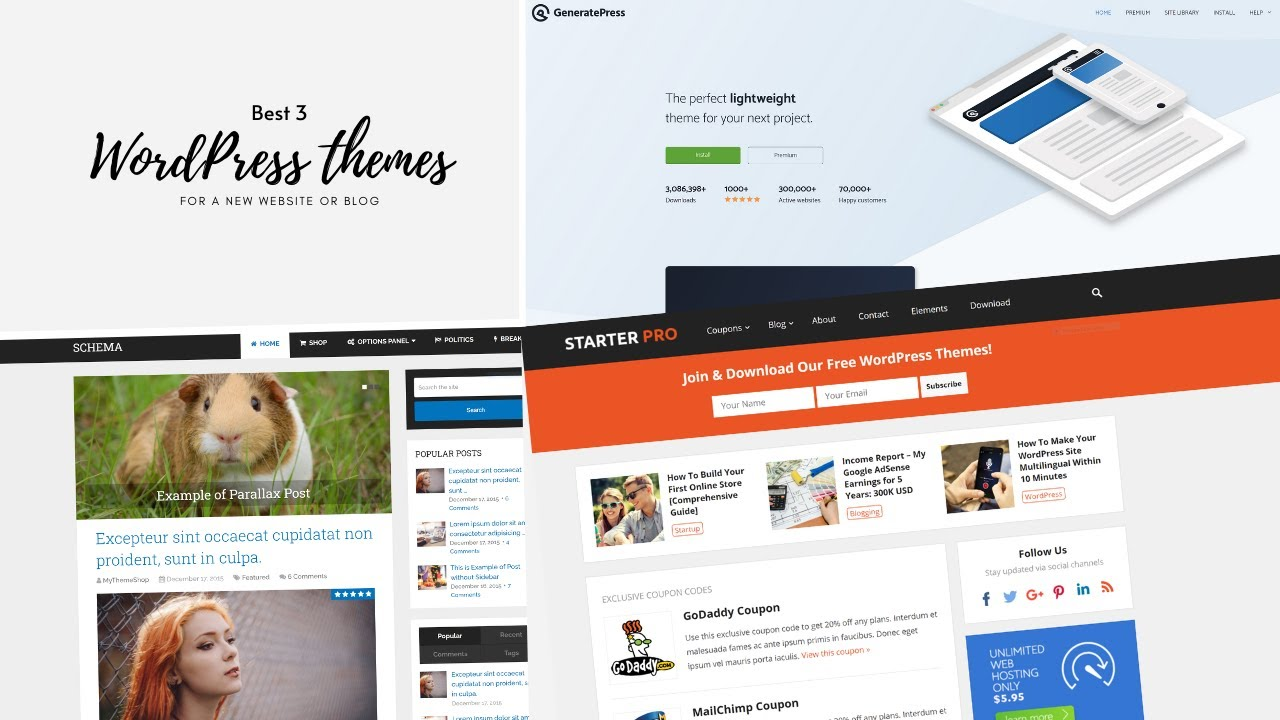Best 3 Wordpress Themes Free For A New Website Or Blog Shorts Youtube
