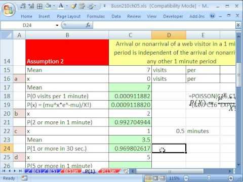 Excel Statistics 65: POISSON function Poisson Probability Distribution