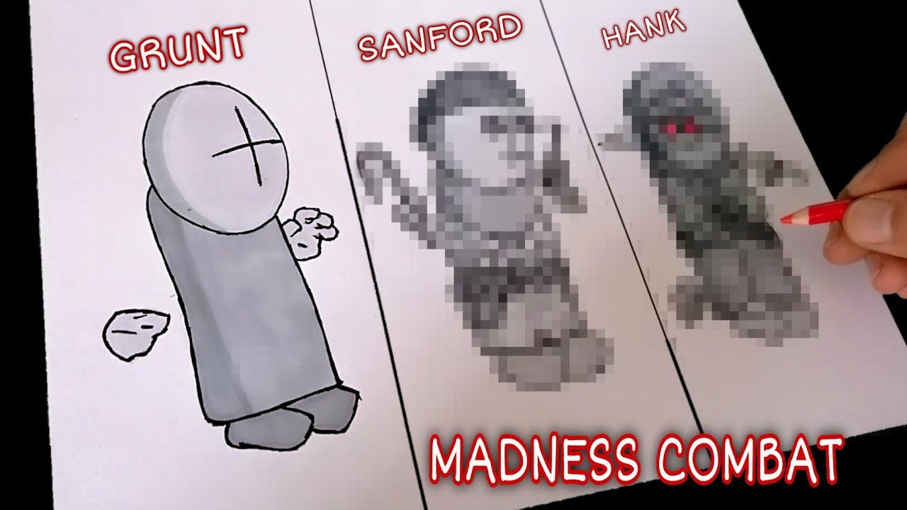 DIBUJANDO PERSONAJES DE MADNESS COMBAT #1   drawing madness combat characters #1  CunsArt