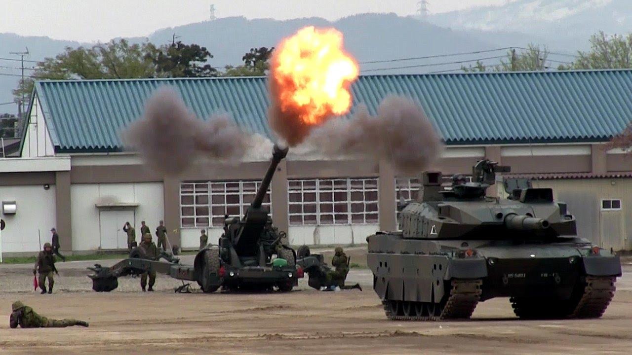 【爆圧で200m先の警報裝置も誤作動】陸上自衛隊 155mm榴弾砲 Japan ...
