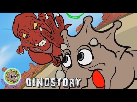 T-Rex chases Triceratops- Dinosaur Songs from Dinostory by Howdytoons S1E7