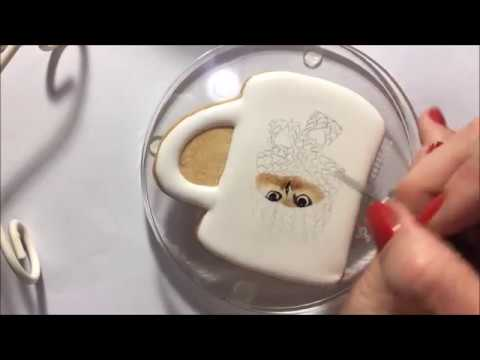 hand painting on royal icing cookie
