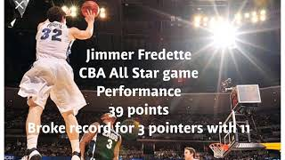 Jimmer goes bonkers in the CBA all star game for 39 points. Breaks the record for 3 pointers with 11
