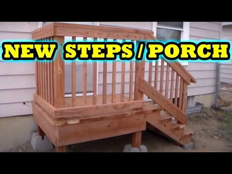 How To Build Freestanding Porch Steps Home Depot Diy Youtube   Premade Steps For Outside   Handrail   Wood   Stair Railing   Deck   Wooden