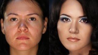 Яркий вечерний макияж на проблемной коже. (Урок №17)