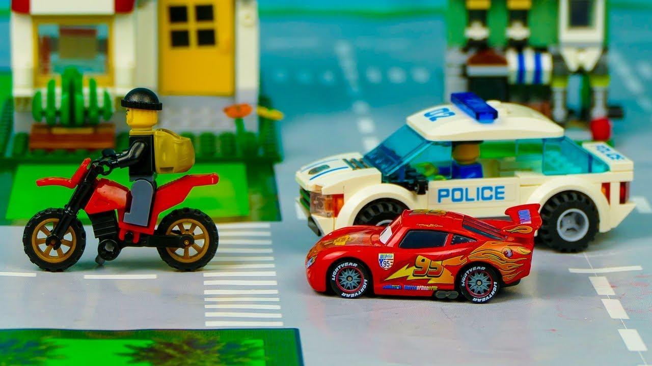Мультик про машинки. Мотоцикл, Полицейская машина, Полицейская погоня, Маквин. Серия 245 Мир Машинок