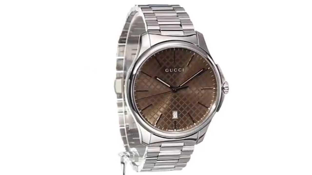 b51bfec9db6 Gucci - G-Timeless Large Brown Dial Steel Bracelet SKU 8492461 - YouTube