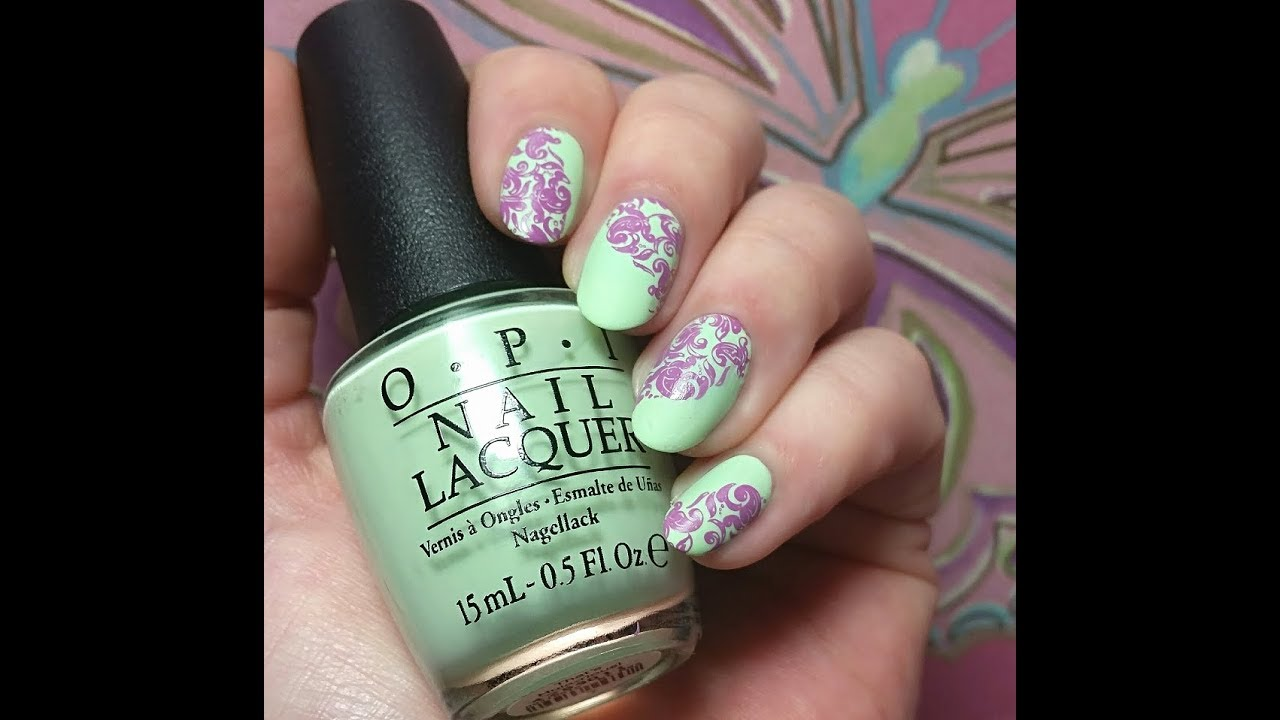 Mint & Orchid Damask Nail Art Tutorial - YouTube