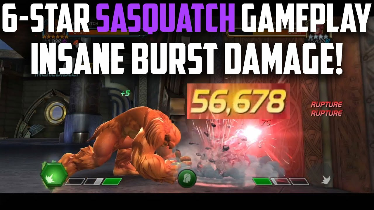 6-Star SASQUATCH Level-Up & Gameplay - BEASTMODE!!! - Marvel Contest of Champions