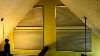 Motorized Angle Top Shades installed by Carolina Blinds.  Mountain home plus mountain views!