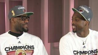 LeBron James, Dwayne Wade and Chris Bosh ESPN Interview Clip: Big 3 Celebrate NBA Finals Win
