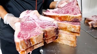 American Food - DRY AGED PORTERHOUSE STEAK Lobster Surf and Turf Tuscany Steakhouse NYC