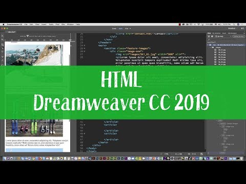 HTML and CSS tutorial with Dreamweaver CC 2019 Part one