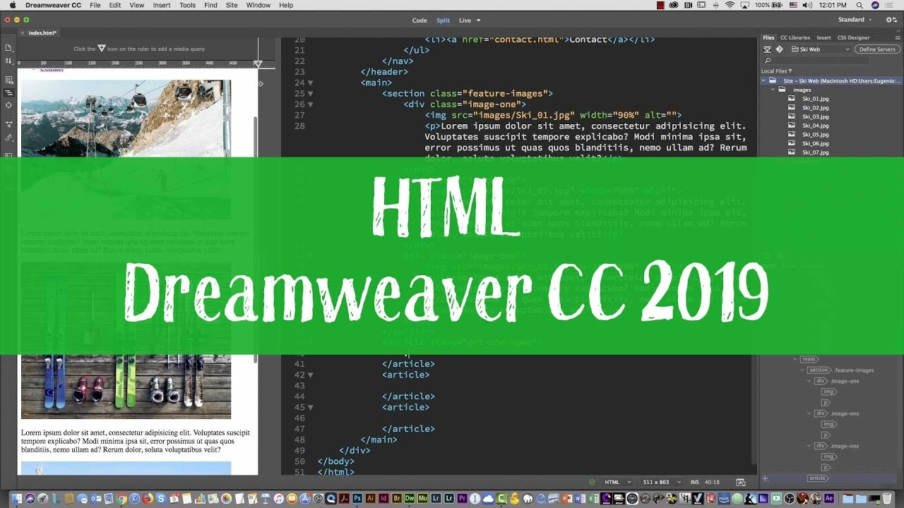 Ski web project 03 – HTML and CSS tutorial with Dreamweaver CC 2019