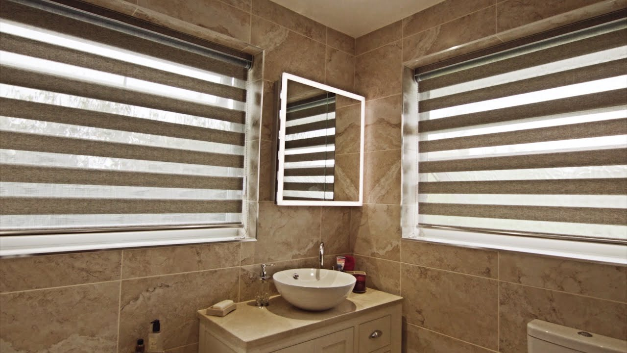 Day And Night Roller Blinds In A Bathroom Youtube
