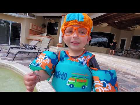 Blippi Dressed Toddler Catches A Lizard In The Pool 4K   Jonathan's PLayhouse   Swimming Pool Lizard