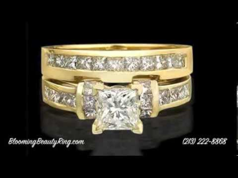 2 ct Gold Princess Cut Matching Diamond Engagement Ring Set