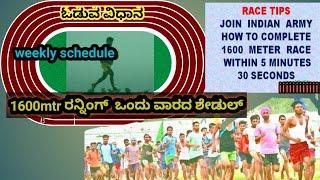 ಕನ್ನಡದಲ್ಲಿ ಆರ್ಮಿ ರನ್ನಿಂಗ್ ಟಿಪ್ಸ್ 1600 meter army running for beginners in kannada