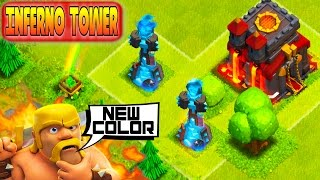 CLASH OF CLANS - BLUE INFERNO TOWER LVL 4 UPDATE!(HERO CUSTOMIZE+MINI GAMES)@CLASHOFCLANS (WWWW)