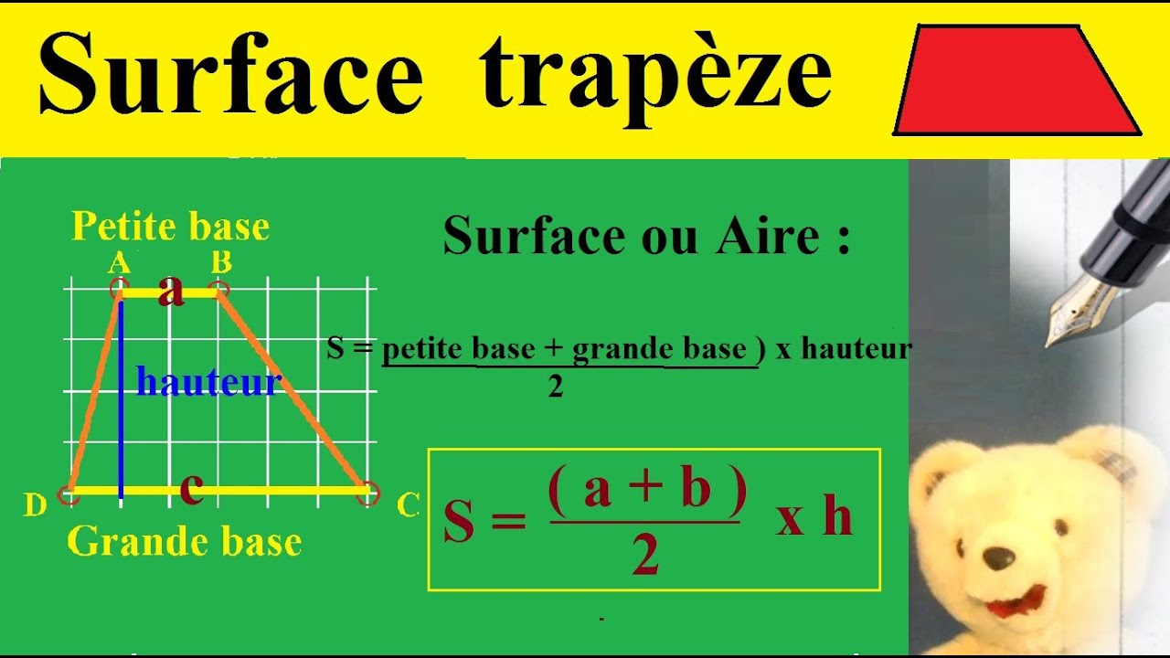 Calculer surface ou aire d 39 un trap ze maths g om trie formule propri - Comment calculer une surface a peindre ...
