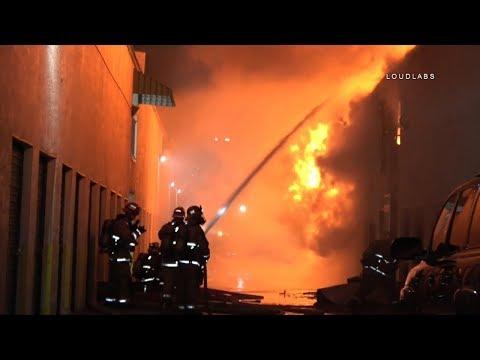 3 Alarm Storage Fire / Long Beach   RAW FOOTAGE