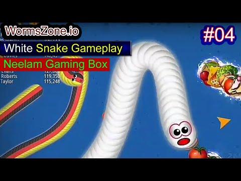 Worm Zone Episode 04 White Snake GamePlay | #WormZone Snake Game | #NeelamGamingBox #NGB