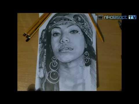 Drawing portrait Samira Parrilla - Work in progress by Nikola Isailovic ART