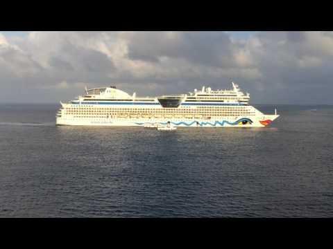 AIDAMar cruise ship arriving at Grand Cayman Islands